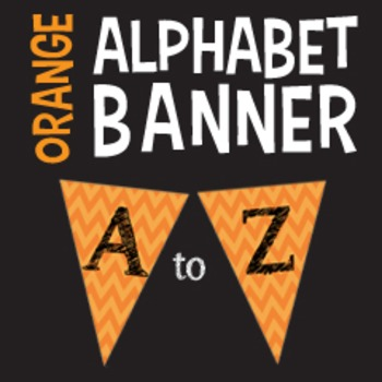 Complete Alphabet Orange Chevron Pennant Banner with Black Letters