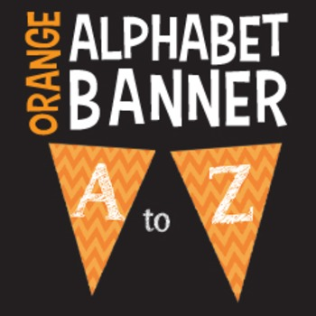 Complete Alphabet Orange Chevron Pennant Banner With White Letters