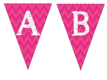 Complete Alphabet Pink Chevron Pennant Banner