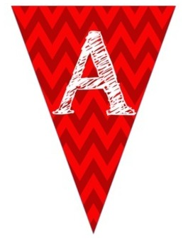 Complete Alphabet Red Chevron Pennant Banner