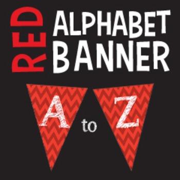Complete Alphabet Red Chevron Pennant Banner