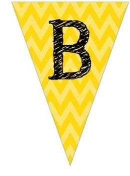Complete Alphabet Yellow Chevron Pennant Banner