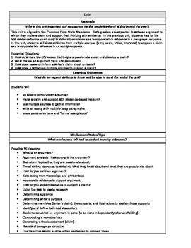 Complete Argument Writing Unit Plan