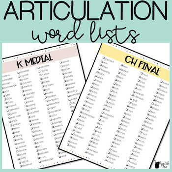 Complete Articulation Word Lists