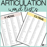 Articulation Word Lists for ALL SOUNDS