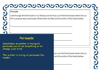 Authors Purpose Packet with Lessons Tasks Cards Writing Prompts Complete
