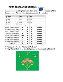 Complete Baseball Line Up Spreadsheet