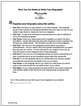 Biography Writing Interactive Notebook, Step-By-Step Step-By-Step Student Guide!