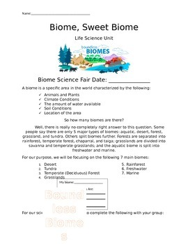 Biome, Sweet Biome: A complete life science unit