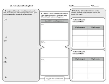 Complete-Blooms Based Guided Readings (U.S. History)