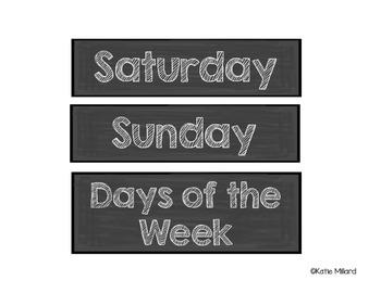 Complete Calendar Set: Chalkboard