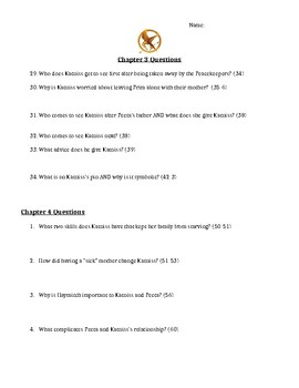 Complete Chapter Questions for The Hunger Games