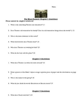 Complete Chapter Questions for the Maze Runner