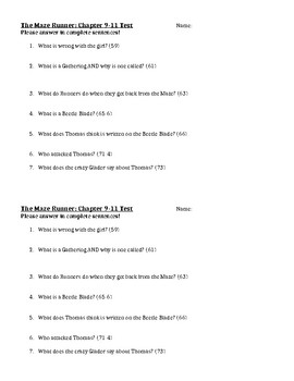 Complete Chapter Tests for Maze Runner
