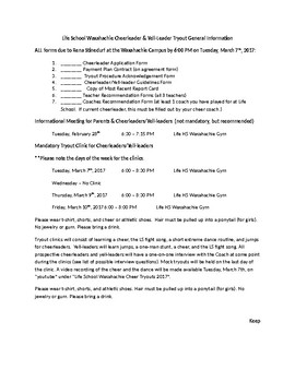 Complete Cheerleading Tryout Packet for Middle School & Hi
