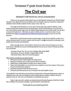 Complete Civil War Unit (5th Grade TN Standards)