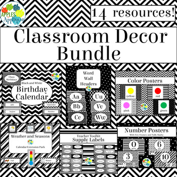 Classroom Decor BUNDLE in Black and White Theme