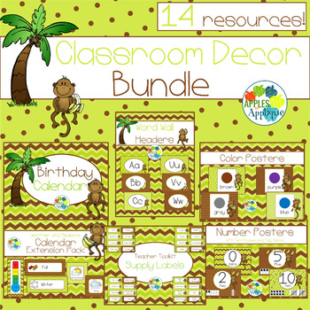 Classroom Decor BUNDLE in Monkey Theme