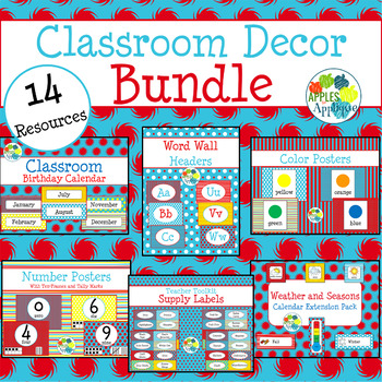 Classroom Decor BUNDLE in Primary Colors Theme