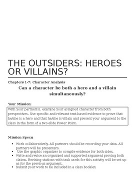 Complete Common Core Aligned Novel Unit for The Outsiders