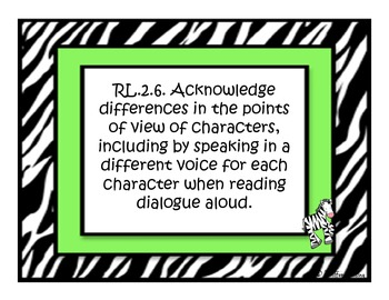Complete Common Core Standard Second Grade and Focus Walls (Zebra Themed)