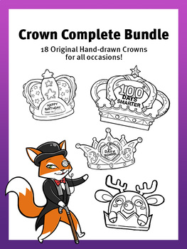 Complete Crown Bundle - 18 Original Crowns to Cut-Out and Color!