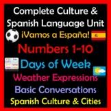 Beginner Spanish Digital Unit - Travel in Spain - Numbers, Weather, Conversation