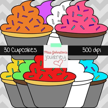 Complete Cupcake Clipart Set- 30 images including blacklines