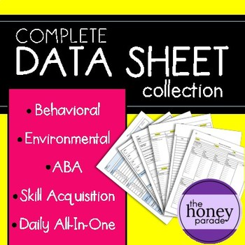 Complete Data Sheet Collection- ABA, Behavioral, Skills, and MORE!