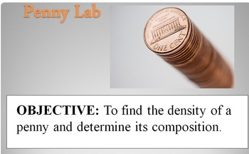 Complete Density of Penny Lab, Presentation, Spreadsheet, & Quiz