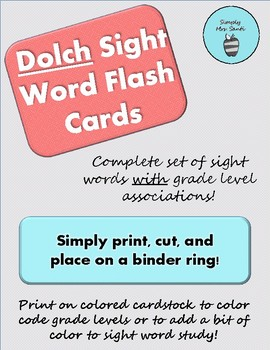 Complete Dolch Sight Word Flash Card Set