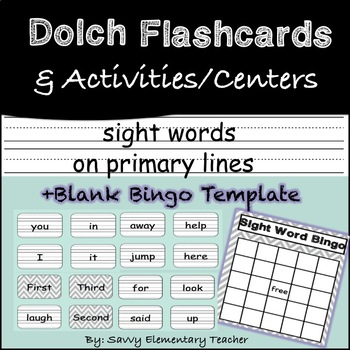 Complete Dolch Words Flashcards *Includes games for centres and BINGO* Word Wall