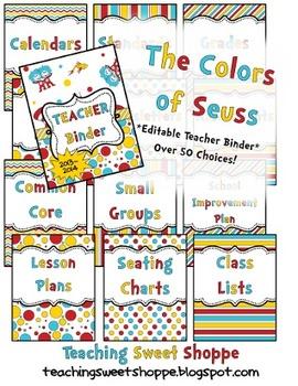 "Complete EDITABLE ""Colors of Dr. S"" Teacher Binder!"