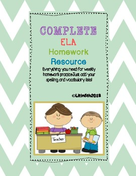 Complete ELA Homework Packet (Editable)