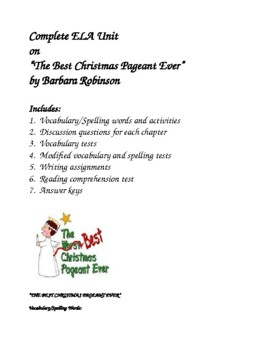 """""""The Best Christmas Pageant Ever"""" Unit"""