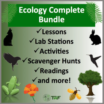 Complete Ecology Bundle - Lab Stations, Digital Scavenger Hunts, and Readings
