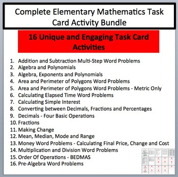 Complete Elementary Mathematics Task Card Activity Bundle -  16 Task Card Sets