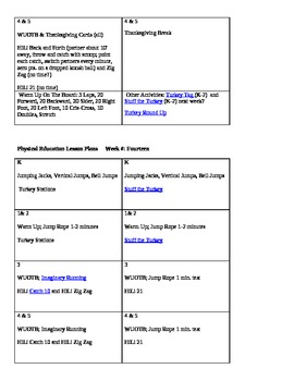 Complete Elmentary PE Lessons Schedule with Games and rules