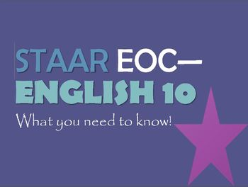 Complete English 10 STAAR EOC Review Power Point- Updated 2/23/17!