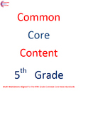 Complete Fifth Grade Common Core Math Worksheet Package Al