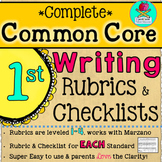 Complete First Grade Writing Common Core Rubrics + Checklists