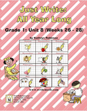 Daily First Grade Writing Lessons, Activities, Grammar - Unit 8 - {CCSS Aligned}