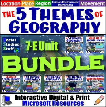 Complete 5 Themes of Geography Unit Emphasizing US Geography Map Skills Unit