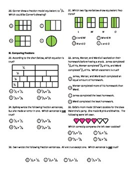 Complete Fractions Test for 3rd Grade Common Core