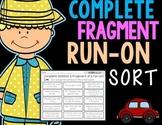 Complete, Fragment, Run-On Sentence Sort