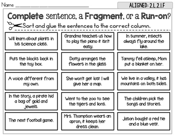 Complete Fragment Run On Sentence Sort Set 2 By Rock