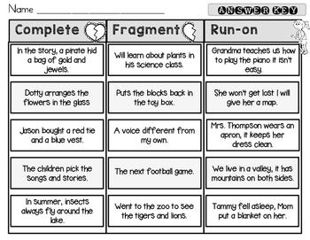 Complete, Fragment, Run-On Sentence Sort, Set 2