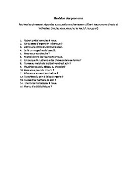 Complete French Direct, Indirect Object Pronoun Revision- Handout and Worksheet