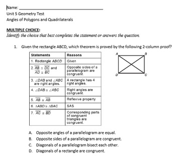 Complete Geometry Unit on Angles of Polygons and Quadrilaterals with Powerpoint