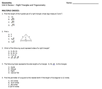 Complete Geometry Unit on Right triangles and trigonometry with power points